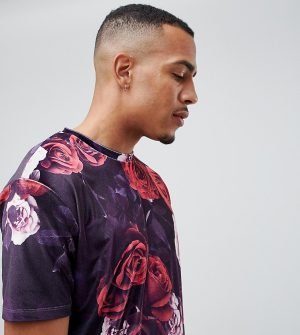 ASOS DESIGN Tall two-piece relaxed t-shirt in floral velour - Purple