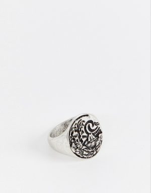ASOS DESIGN chunky nautical ring with emboss in burnished silver tone - Silver