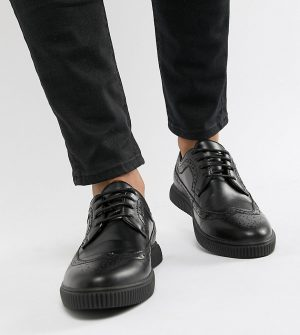 ASOS DESIGN creeper brogue shoes in black faux leather - Black