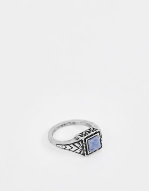 ASOS DESIGN ditsy ring in burnished silver with navy stone - Silver