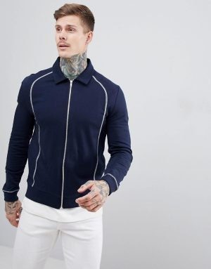 ASOS DESIGN harrington jacket with contrast stitching in navy - Navy