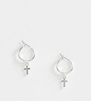 ASOS DESIGN hoop earrings with cross in silver tone - Silver