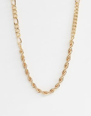 ASOS DESIGN mixed chain necklace in gold tone - Gold