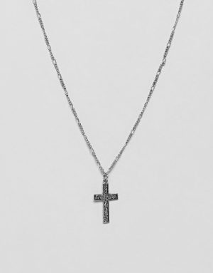 ASOS DESIGN necklace with embossed cross in burnished silver tone - Silver