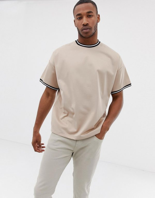 ASOS DESIGN oversized longline t-shirt with contrast tipping in poly tricot - Beige