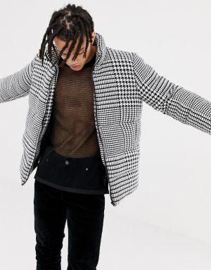 ASOS DESIGN oversized puffer jacket in dogstooth print - Black