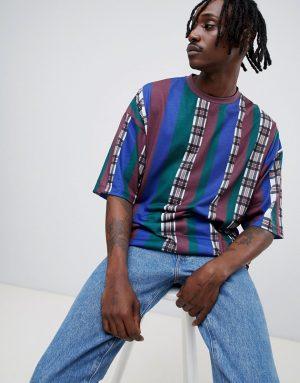 ASOS DESIGN oversized stripe check t-shirt with half sleeve - Multi
