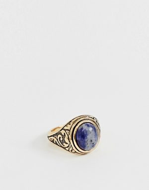 ASOS DESIGN ring in burnished gold tone with semi precious navy stone - Gold