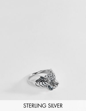ASOS DESIGN sterling silver tiger ring with crystals - Silver