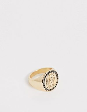 ASOS DESIGN vintage style lady of guadalupe ring in gold tone with crystals - Gold