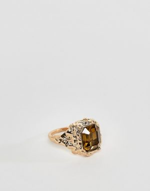 ASOS DESIGN vintage style ring with stone in gold tone - Gold