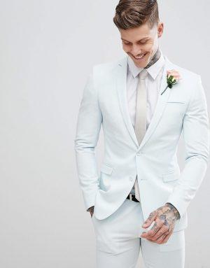ASOS DESIGN wedding super skinny suit jacket in pastel blue - Blue