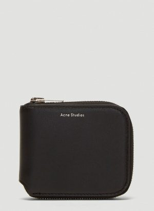 Acne Studios Compact Zip-Around Wallet in Black size One Size