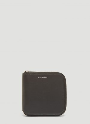 Acne Studios Csarite Leather Zip Around Wallet in Black size One Size