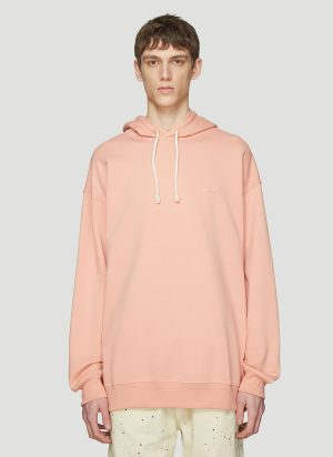 Acne Studios Hooded Oversized Face Patch Sweatshirt in Pink size S