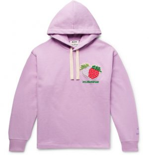 Acne Studios - Oversized Appliquéd Embroidered Loopback Cotton-Jersey Hoodie - Men - Purple