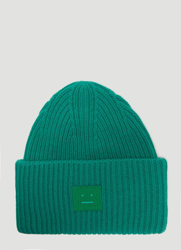 Acne Studios Pansy N Face Knit Hat in Green size One Size