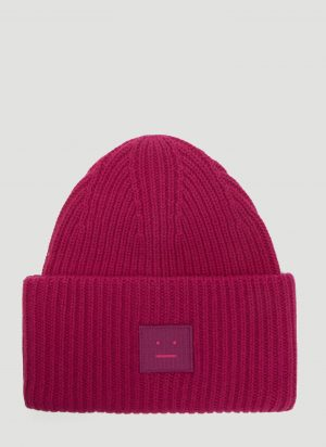 Acne Studios Pansy N Face Knit Hat in Pink size One Size