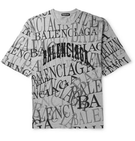 bae7b057904f Balenciaga – Logo-Embroidered Printed Cotton-Jersey T-Shirt – Men – Gray