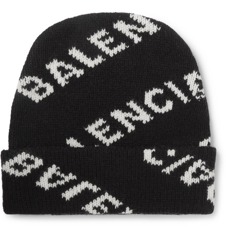 Balenciaga - Logo-Jacquard Virgin Wool and Camel Hair-Blend Beanie - Men - Black
