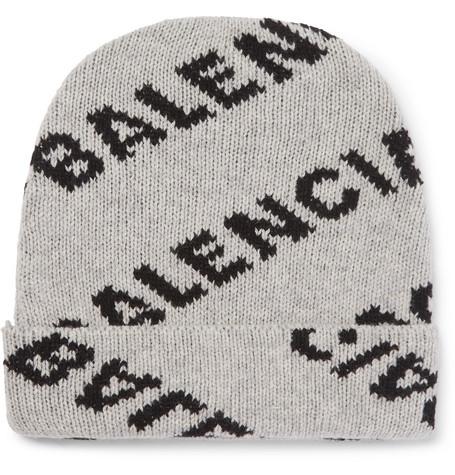 Balenciaga - Logo-Jacquard Virgin Wool and Camel Hair-Blend Beanie - Men - Gray