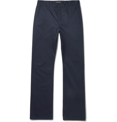 Balenciaga - Navy Cotton-Twill Trousers - Men - Navy