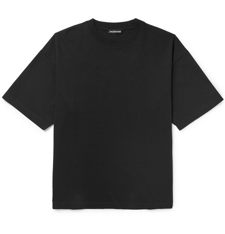 Balenciaga - Oversized Embroidered Cotton-Jersey T-Shirt - Men - Black