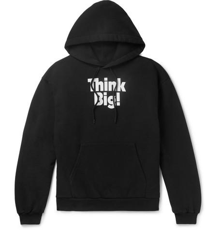 Balenciaga - Printed Fleece-Back Cotton-Blend Jersey Hoodie - Men - Black