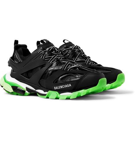 Balenciaga - Track Glow Nylon, Mesh and Rubber Sneakers - Men - Black