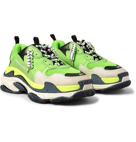 79d04888ed114 Balenciaga – Triple S Mesh, Nubuck And Leather Sneakers – Men – Green