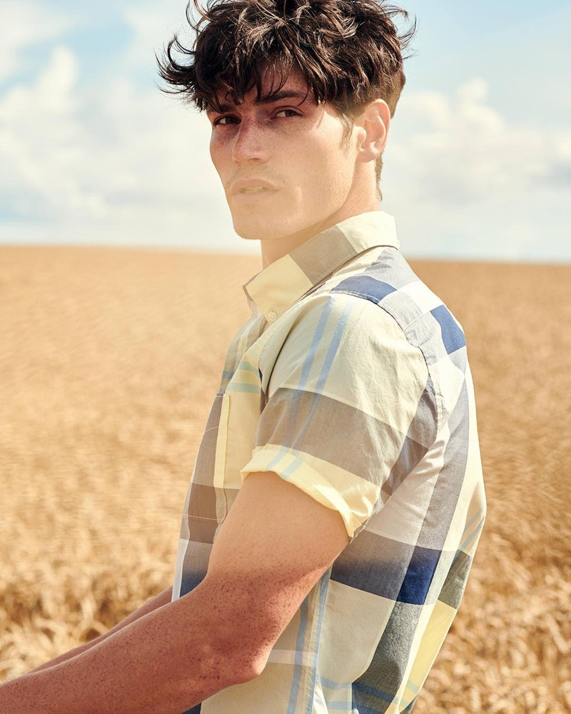 Sam Way sports a checked shirt from the Barbour Tartan fall-winter 2019 collection.