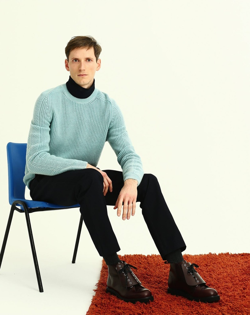Bastiaan Ninaber dons an Iris Von Arnim turtleneck sweater with a Jil Sander turtleneck, A.P.C. trousers, and Loewe boots.
