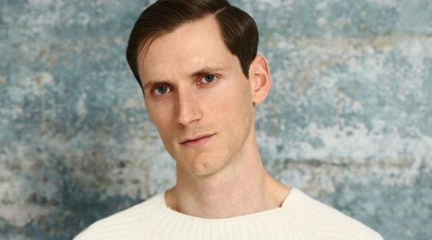 Taking aim at a serene look, Bastiaan Ninaber wears a Joseph sweater with Fendi trousers.