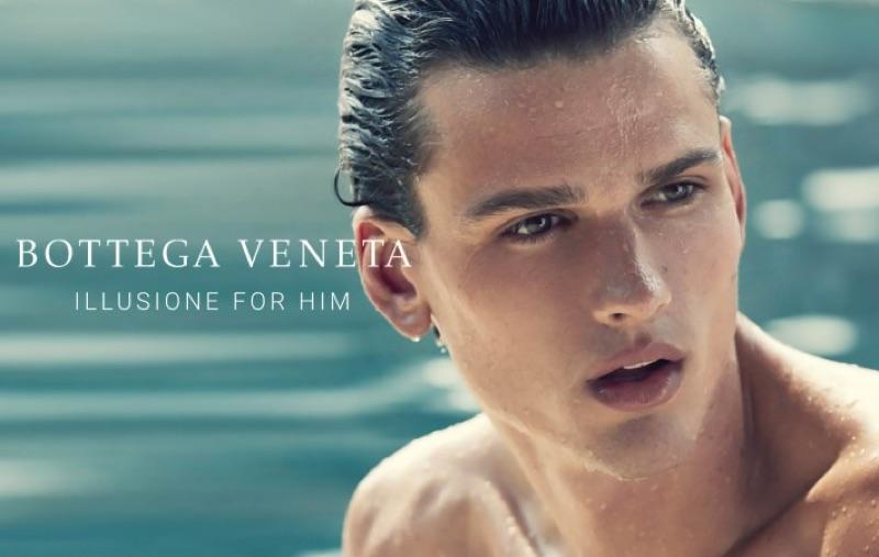 Simon Nessman fronts the fragrance campaign for Bottega Veneta Illusione for Him.