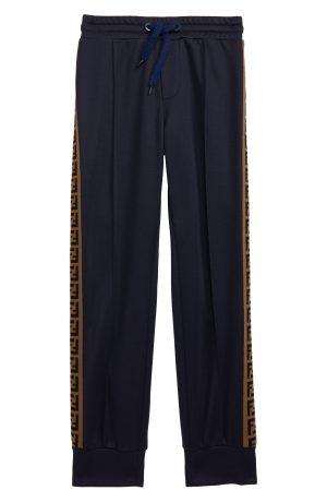 Boy's Fendi Logo Stripe Track Pants, Size 4Y - Blue