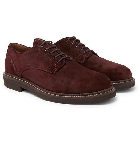 Brunello Cucinelli - Brushed-Suede Derby Shoes - Men - Burgundy