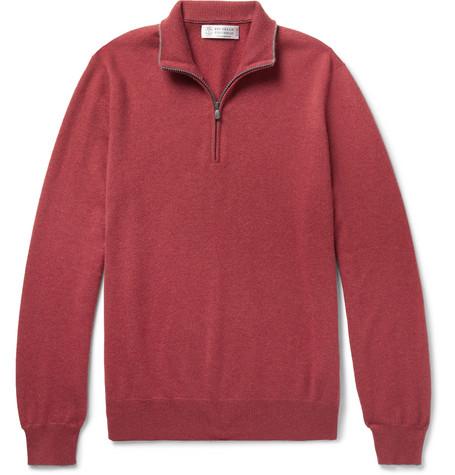 Brunello Cucinelli - Contrast-Tipped Cashmere Half-Zip Sweater - Men - Burgundy