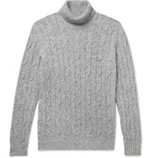 Brunello Cucinelli - Contrast-Tipped Mélange Cable-Knit Rollneck Sweater - Men - Gray