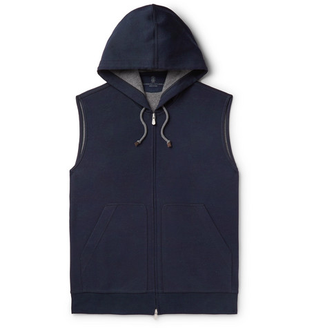 Brunello Cucinelli - Cotton-Blend Jersey Gilet - Men - Navy