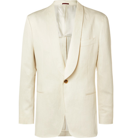 Brunello Cucinelli - Cream Unstructured Linen Suit Jacket - Men - Cream