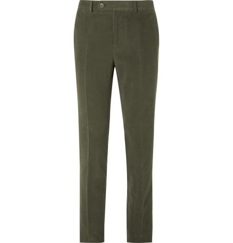 Brunello Cucinelli - Dark-Sage Slim-Fit Cotton and Cashmere-Blend Suit Trousers - Men - Green