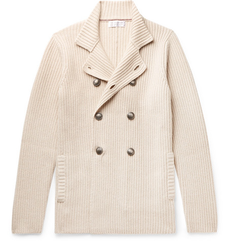 Brunello Cucinelli - Double-Breasted Ribbed Virgin Wool, Cashmere and Silk-Blend Cardigan - Men - Cream