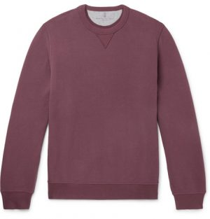 Brunello Cucinelli - Fleece-Back Stretch-Cotton Jersey Sweatshirt - Men - Burgundy