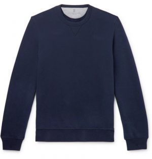 Brunello Cucinelli - Fleece-Back Stretch-Cotton Jersey Sweatshirt - Men - Navy