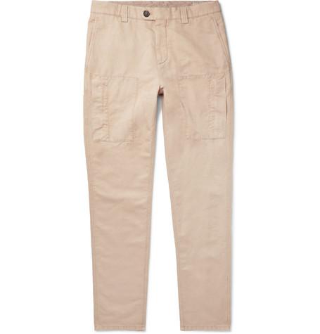 Brunello Cucinelli - Linen and Cotton-Blend Trousers - Men - Sand