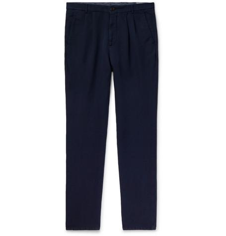 Brunello Cucinelli - Navy Slim-Fit Pleated Linen and Cotton-Blend Chinos - Men - Navy
