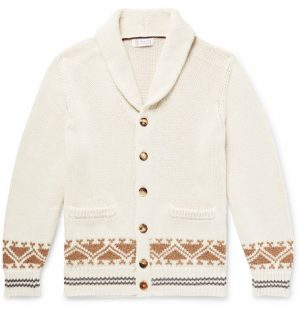 Brunello Cucinelli - Shawl-Collar Cotton-Jacquard Cardigan - Men - Off-white