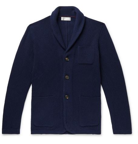 Brunello Cucinelli - Shawl-Collar Wool-Blend Cardigan - Men - Navy