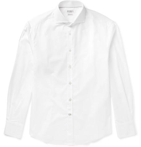 Brunello Cucinelli - Slim-Fit Cutaway-Collar Cotton-Poplin Shirt - Men - White
