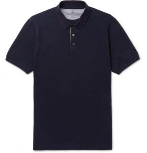 Brunello Cucinelli - Slim-Fit Grosgrain-Trimmed Cotton-Piqué Polo Shirt - Men - Navy